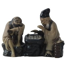 Chinese Mudmen Figurine Chess Players Weiqi Go Qing / Early Republic
