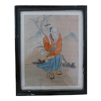Vintage Chinese Painting Sage Ink Color Silk Framed