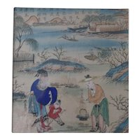 Antique Chinese Nianhua Woodblock Woodcut Print Yangliuqing 杨柳青年画Tianjin New Year's Picture #2 Peach Blossom Spring 桃花源