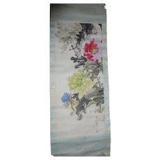 Vintage Chinese Scroll Painting Calligraphy Peonies Watercolor Seal