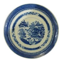 Antique Chinese Export Plate Blue White Canton
