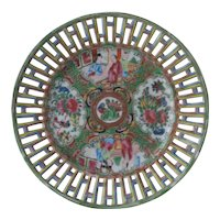 Antique Chinese Export Famille Rose Medallion Reticulated Porcelain Plate 19th C Excellent Condition