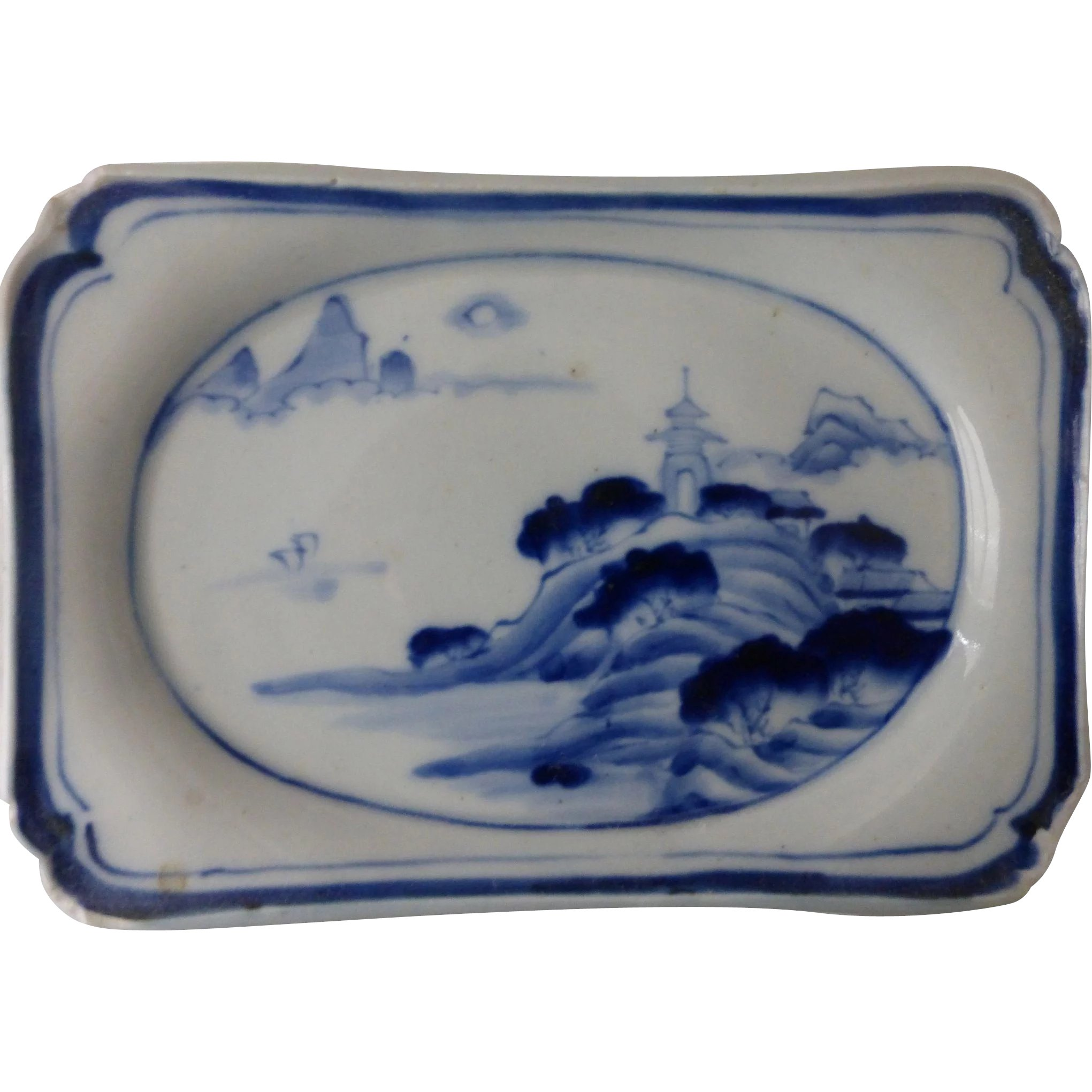 Antique Chinese Porcelain Blue & White Footed Tea Ceremony Dish Ko ...