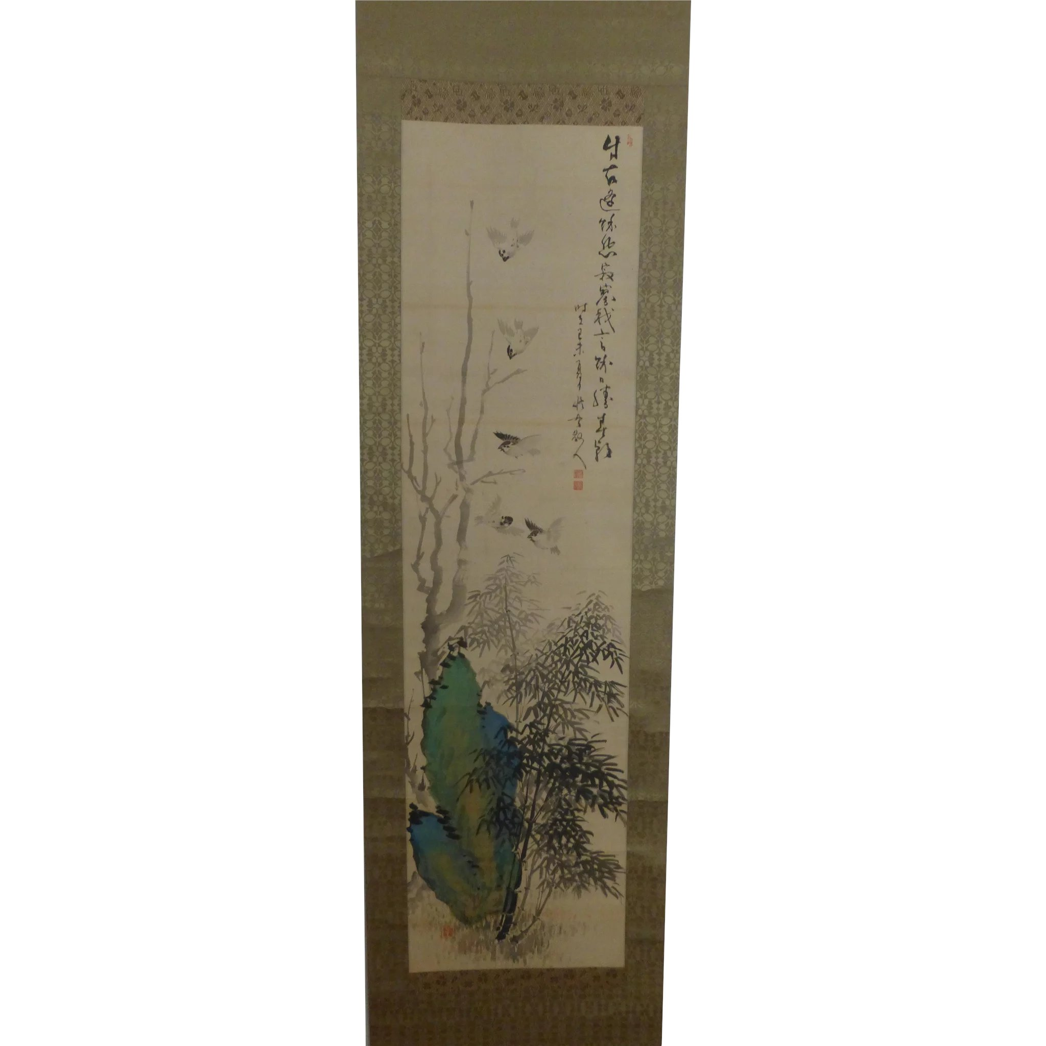 Antique Japanese Scroll: Antique Japanese Scroll Painting Bamboo Birds Rock