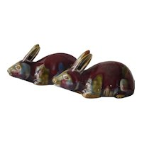 Pr Antique Chinese Porcelain Rabbits Republic Export Flambe Tri-Color Glaze Marked