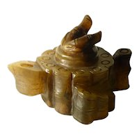 Antique Chinese Green Hardstone Waterdropper Scholar Item Bamboo Bundle