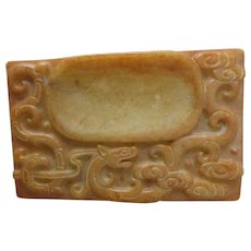Antique Chinese Carved Hardstone Inkstone Inkwell Scholar Item