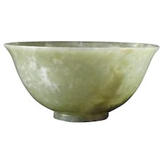 Vintage Carved Chinese Green Jade Bowl with White Markings