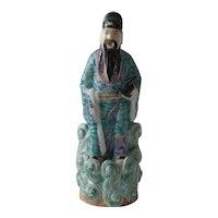 Chinese Porcelain Famille Rose Figurine Republic Signed Wei Hongtai Zao 魏洪泰造 Scholar Figure