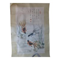 Vintage Chinese Watercolor Scroll Koi Fish Goldfish Calligraphy Signed Seals