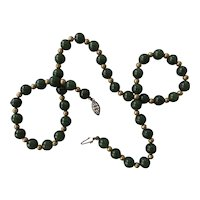 Green Jade Carved Chinese Bead Necklace Sterling Silver Vermeil