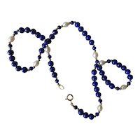 Vintage 14K Gold Lapis Pearl Necklace