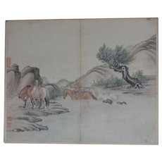 Antique Chinese Painting Horses Crossing River Jin Rujian 金如鑒 18/19th C Sealed