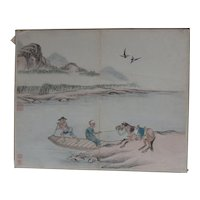 Antique Chinese Watercolor Painting Horse & Mandarin at River Ferry Jin Rujian 金如鑒 18/19th C Sealed