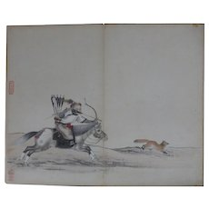 Antique Chinese Painting Hunting Qing Manchu Noble on Horse Jin Rujian 金如鑒 18/19th C Sealed