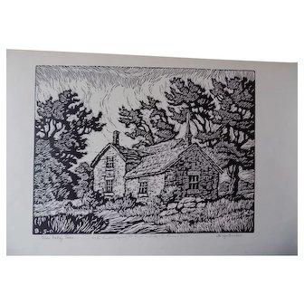 Sven Birger Sandzen Linoleum Cut Print 1929 Stunning Estate Item Blue Valley Farm Signed Dedicated