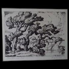 Sven Birger Sandzen Drypoint Print Three Cottonwood Trees Signed Estate Item