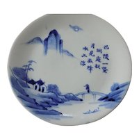 Antique Chinese Blue & White Landscape Plate Moon Calligraphy Scholar #1