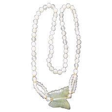 Vintage Chinese Jade 11mm Bead Long Necklace With Butterfly