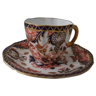 Antique Royal Crown Derby Kings Pattern Imari Coffee Cup & Saucer