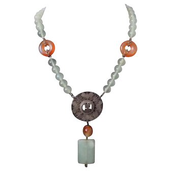 Antique Chinese Jade / Agate / Silver Necklace
