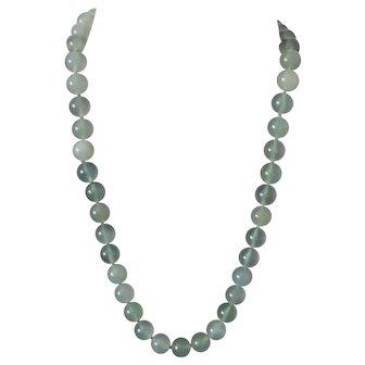 Vintage Translucent Hardstone 14mm Diameter Bead Necklace