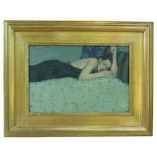 American Oil Painting Reclining Woman Listed Artist Liepke