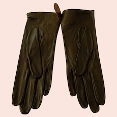 Vintage Brown Leather French Gloves Never Worn