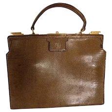 Vintage Snakeskin Handbag French Hand-Made Mid-20th Century