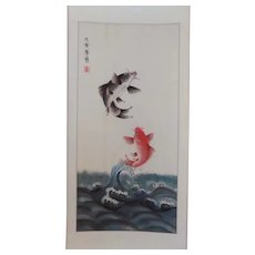 Vintage Chinese Handpainted Scroll Leaping Koi Fish Signed