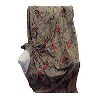 Vintage Italian 100% Silk Fabric 212 x 137 cms Brown & Rose