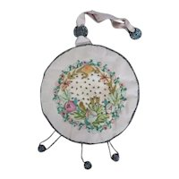 Antique Beaded Embroidered Applique Silk Round Bag
