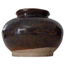 Antique Chinese Brown Glaze Jar Fujian Kiln