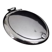 English Sterling Silver Mirrored Round Compact