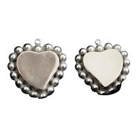 Vintage Mexico 925 Pair of Sterling Silver Hearts