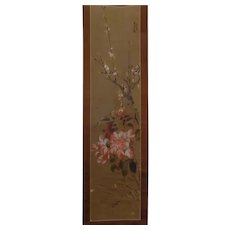 Lovely Old Chinese Handpainted Scroll Peony & Blossoms Signed Dated Sealed