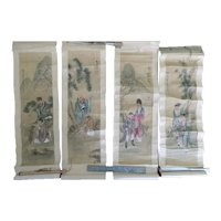 4 Small Antique Chinese Scroll Paintings on Silk Signed