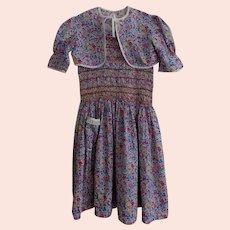 Vintage Liberty of London Fabric Handsmocked Dress w Shrug/Bolero