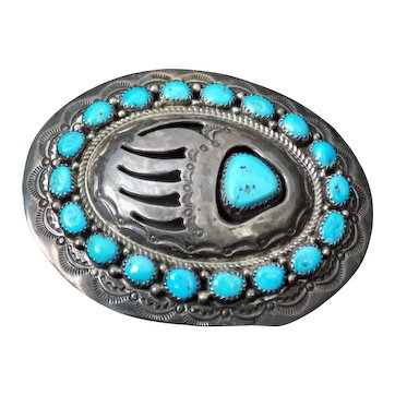 Navajo Turquoise Sterling Bear Claw Belt Buckle WM Wilbur Musket Signed