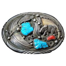 Vintage Navajo Sterling Silver Turquoise Coral Bear Claw Belt Buckle M Thomas Jr.