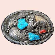 Vintage Navajo Sterling Silver Turquoise Coral Bearclaw Belt Buckle M Thomas Jr.