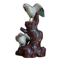 Large Japanese Aode Kutani Hawks Figurine Meiji