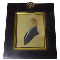 Antique Miniature Painting of a Gentleman in Silhouette Georgian