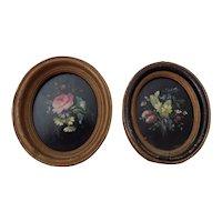 Pair of Vintage Flower Paintings English