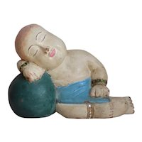 Vintage Chinese Wood Carved Sleeping Child Buddha Polychrome