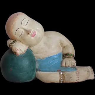Vintage Chinese Wood Carved Sleeping Child Buddha Polychrome
