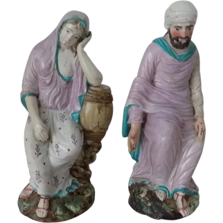 Pr Antique Staffordshire Figures Lakin & Poole Elijah & The Widow Scarce