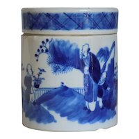 Chinese Blue & White Lidded Jar Kangxi Revival