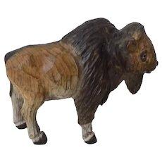 Vintage Carved Wood Buffalo