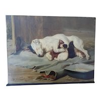 W. H. H. Trood Oil Painting Jack Russell Terrier and Pups 1893 Signed
